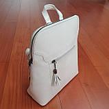 Сумка рюкзак кожаный женский белый, фото 3