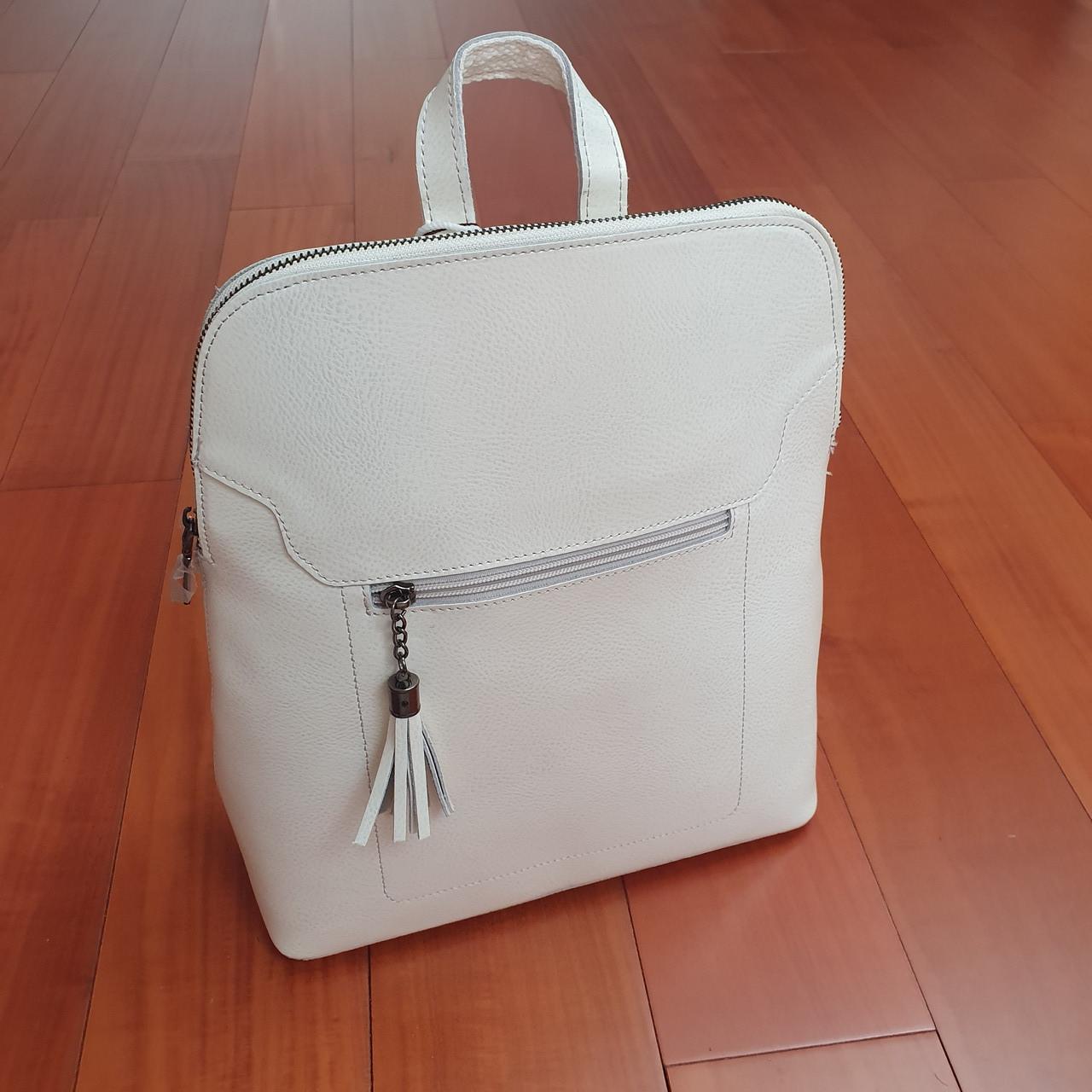 Сумка рюкзак кожаный женский белый