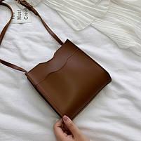Маленькая женская сумочка через плечо - Коричневая, фото 2