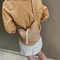 Модная женская сумка через плечо - Плетеный мешочек, фото 2