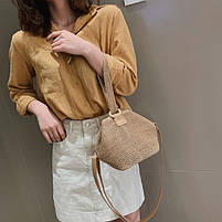 Модная женская сумка через плечо - Плетеный мешочек, фото 3