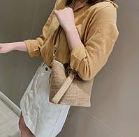 Модная женская сумка через плечо - Плетеный мешочек, фото 4