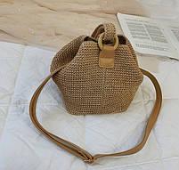 Модная женская сумка через плечо - Плетеный мешочек, фото 6