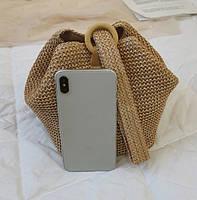 Модная женская сумка через плечо - Плетеный мешочек, фото 7