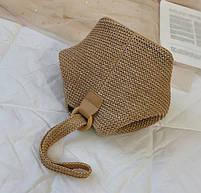 Модная женская сумка через плечо - Плетеный мешочек, фото 10