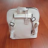 Сумка рюкзак кожаный женский белый, фото 5