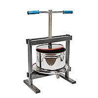 Пресс ручной 10л для отжима сока яблук, винограда, томатов и других фруктов и овощей с нержавеющей стали