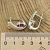 Серебряные серьги с золотом Сильвия размер 24х12 мм вставка красные фианиты вес 8.8 г, фото 2