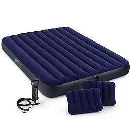 Двухместный надувной матрас INTEX 152x203x25 см + 2 подушки + ручной насос, великий надувний матрац ИНТЕКС