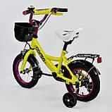 """Велосипед 12"""" дюймов 2-х колёсный """"CORSO""""  ЖЕЛТЫЙ, ручной тормоз, звоночек, сидение с ручкой, доп. колеса, фото 2"""