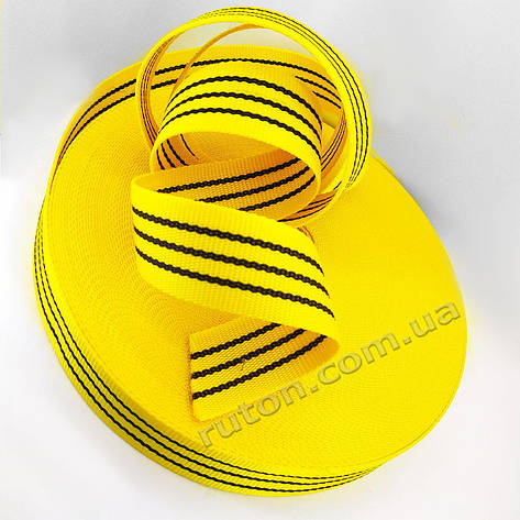50 мм 50 м на 2 т желтая капроновая буксировочная лента для стяжных ремней / тісьма буксирувальна, фото 2