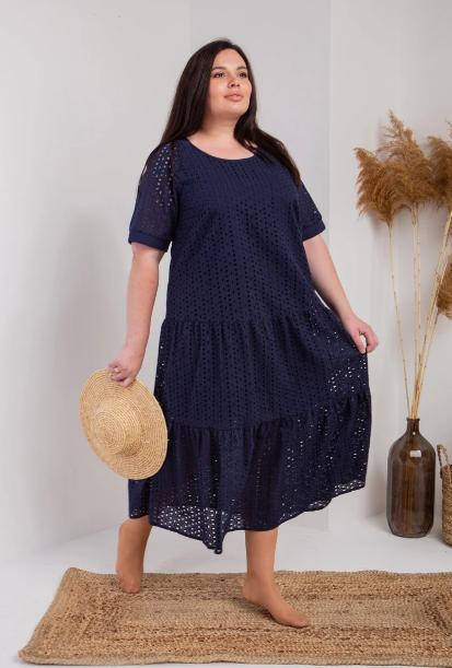 Красивое летнее платье ткань прошва размеры 54,56,58  тёмно-синий цвет