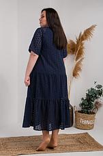 Красивое летнее платье ткань прошва размеры 54,56,58  тёмно-синий цвет, фото 2