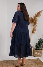 Красивое летнее платье ткань прошва размеры 54,56,58  тёмно-синий цвет, фото 3