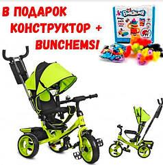 Велосипед-коляска детский трехколесный Ева колеса Turbo Trike M 3113-4 с родительской ручкой зеленый