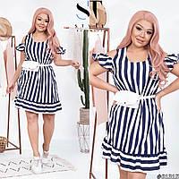 Платье короткое стильное молодёжное синее с белым в полоску, фото 1