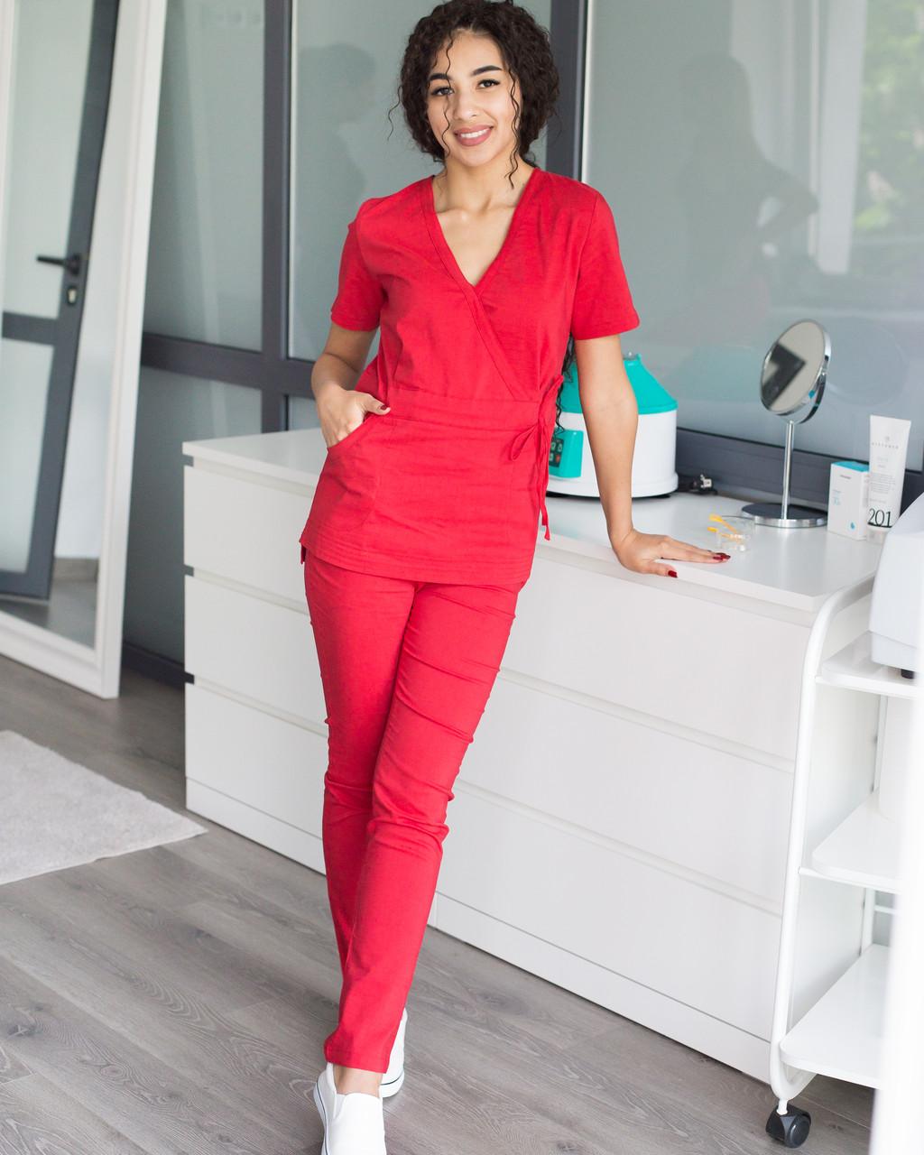 Медицинский костюм Рио красный, из тонкой ткани