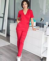 Медицинский костюм Рио красный, из тонкой ткани, фото 1