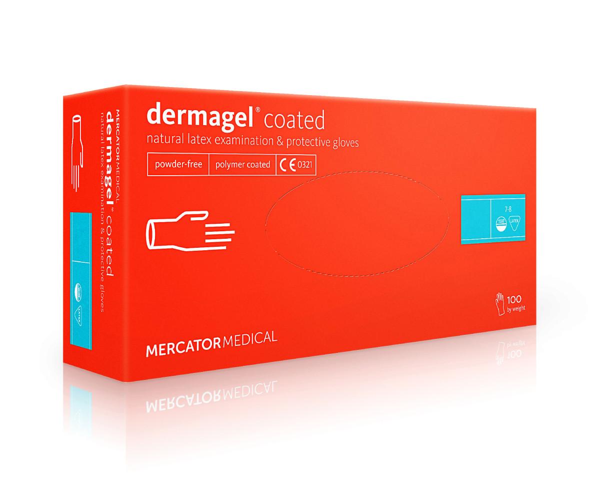 Перчатки Латексные Mercator Medical Dermagel Coated Неопудренные (100 шт./уп.) белого цвета
