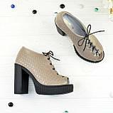 Босоножки женские кожаные на высоком каблуке, цвет визон, фото 2