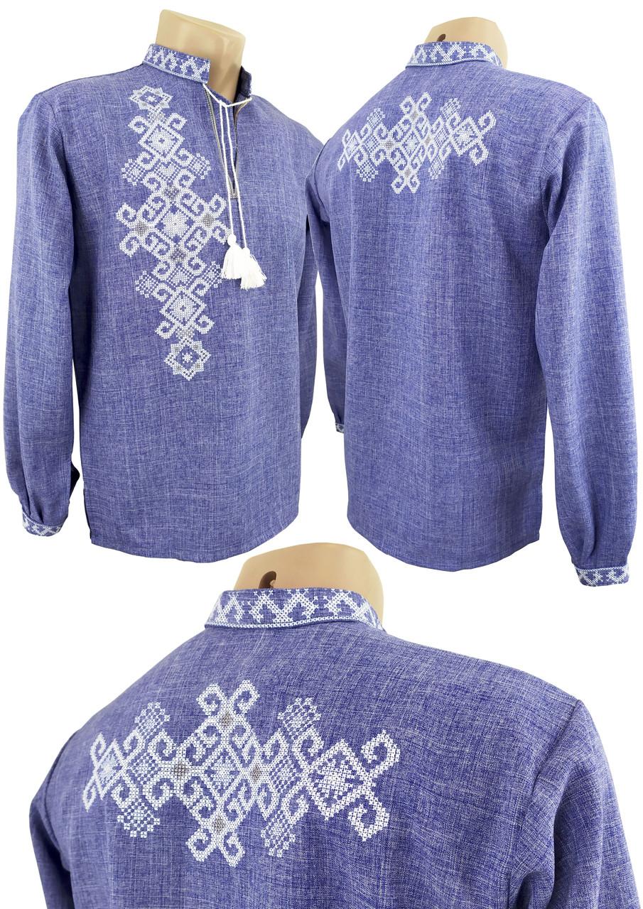 Джинсовая подростковая вышиванка для мальчика с вышивкой на спине