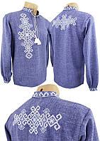 Джинсовая подростковая вышиванка для мальчика с вышивкой на спине, фото 1