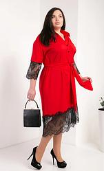 Женское платье-рубашка из супер софта размеры 50,52,54  красный