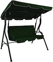 Садовая качеля стальная прочная Bonro Relax 2-х месная с навесом от солнца зеленая
