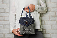 Кожаный серо-синий рюкзак ручной работы, сумочка-рюкзак с авторским тиснением, фото 1