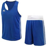 Форма для занятий боксом Adidas Base Punch New (шорты + майка, синяя, ADIBTT02/ADIBTS02)