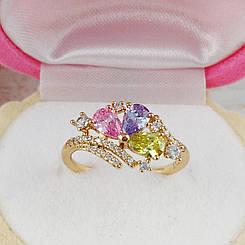 Кольцо Xuping Jewelry размер 17,5 Джулия цветные камни медицинское золото позолота 18К А/В 5693