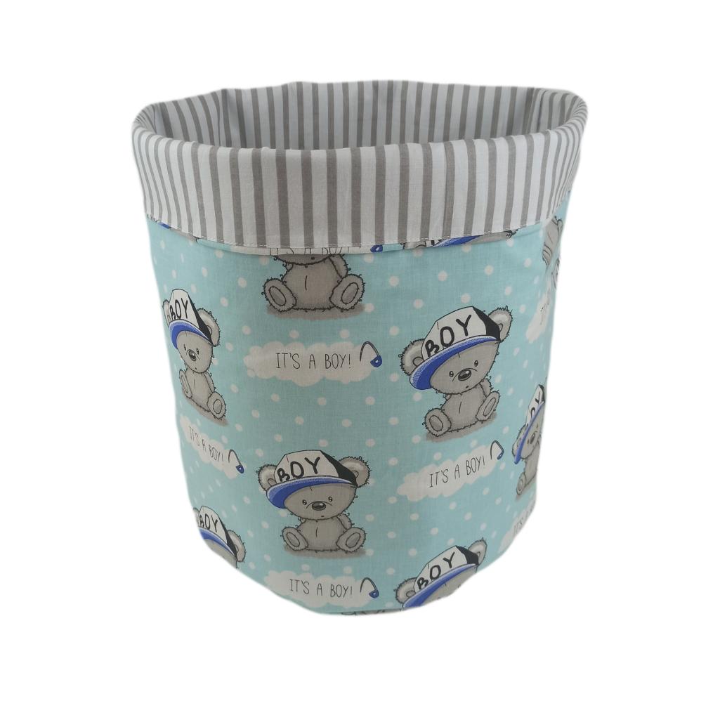 Мішок ( корзина ) для зберігання, Ø35*45 см, (бавовна), з відворотом (Its a Boy! на бірюзовому/смужки сірі)