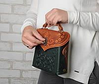 Кожаный зелёно-рижый рюкзак ручной работы, сумочка-рюкзак с авторским тиснением, стиль бохо, фото 1
