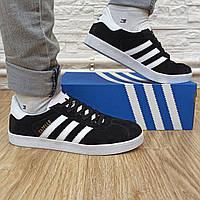 Легендарные мужские кроссовки кеды Adidas Gazelle замшевые черные с белым