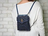 Кожаный синий рюкзак ручной работы, сумочка-рюкзак с авторским тиснением в стиле бохо, фото 1