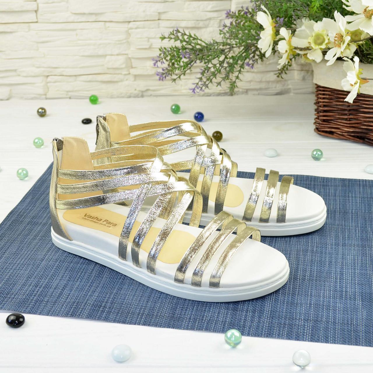 Кожаные сандалии римлянки золотого цвета