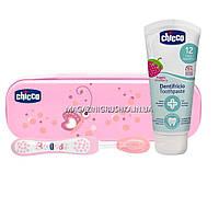 Дорожный набор: зубная щетка, зубная паста chicco Розовая 06959.00
