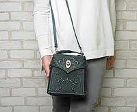 Городской женский кожаный рюкзак, маленький зеленый рюкзак, ручная работа, фото 1