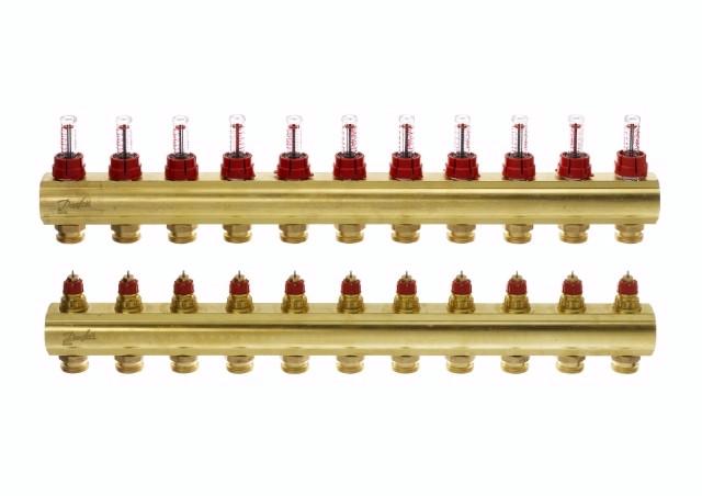 Коллектор для теплого пола FHF 11+11 c ратометрами Danfoss