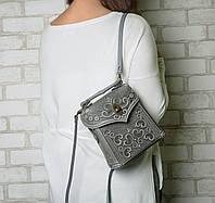 Кожаный серый рюкзак ручной работы, сумочка-рюкзак с авторским тиснением, фото 1