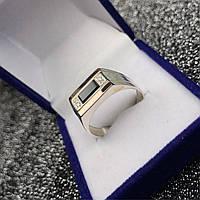 Кольцо мужское из серебра 925 пробы с золотом 375 пробы