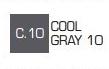 Маркер ZIG С.10 Kurecolor Fine & Brush for Manga (2 пера: кисть+т.п)  Cool gray 10 (Прохладный серый
