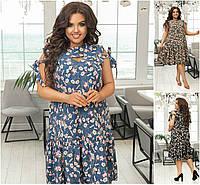 Р 48-62 Летнее нежное платье в цветочек, ниже колена Батал 21682, фото 1