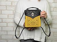 Кожаный чёрный рюкзак ручной работы, сумочка-рюкзак с авторским тиснением, стиль бохо, фото 1