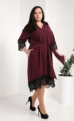 Женское платье-рубашка из супер софта размеры 50,52,54 бордовый