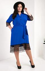 Женское платье-рубашка из супер софта размеры 50,52,54 электрик