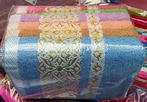 Махровые лицевые полотенца «Орнамент золото» ( 6 шт )