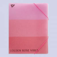 Папка-органайзер YES на резинке А4 Rose Gold, 4 отд, фольга 491749