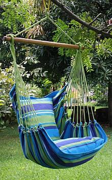 Мексиканський гамак крісло, з планкою, з двома подушками, бавовняний