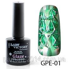 Новинка! Гель-лак на прозрачной основе Lady Victory (ВИТРАЖНЫЙ) GPE-01